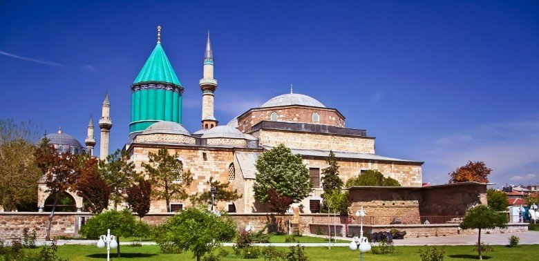 Konya (Iconium) — a quite large city that is the heartland of mystic Sufi order, the site of Rumi's tomb, and with some elegant Seljuq architecture, all surrounded by vast steppes