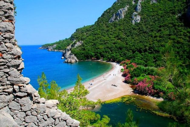 Olympos beach Antalya. A secluded beach 50 miles southwest of Antalya.